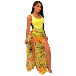 www.Petalsfashionz.com Quick shipping low prices women's Maxi Dresses & Sundresses Letter Print Sheer Mesh Patchwork Summer Dress Sexy Tank Bodysuit High Slit Maxi Night Club Party Dress Female Sundress