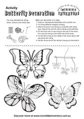 Activity Sheet Butterfly Decoration