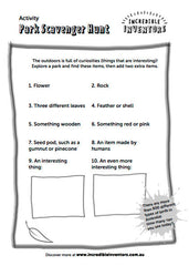 Kids Activity Sheet Park Scavenger Hunt
