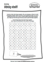 Sticky Stuff PDF Activity Sheet