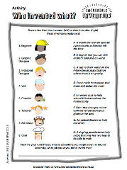 Kids activity sheet - who invented what