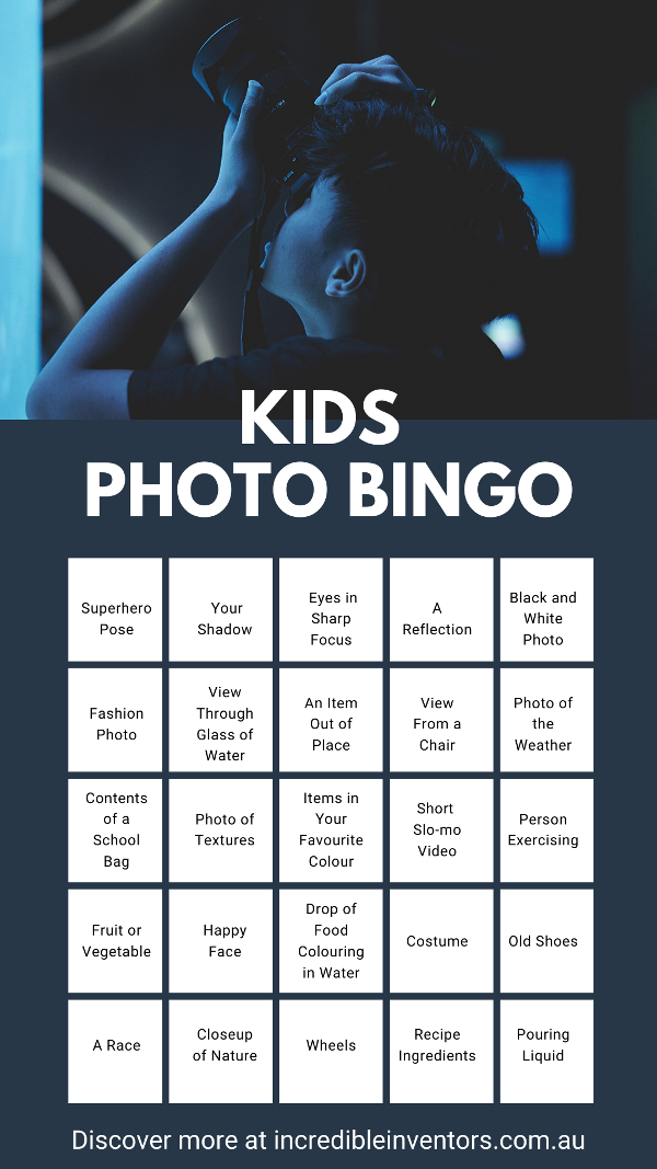 Kids Photo Bingo Game Sheet