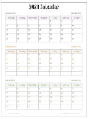 2021 calendar free to download and printable