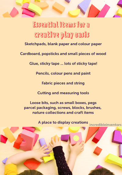 Essential items for a creativity space for kids