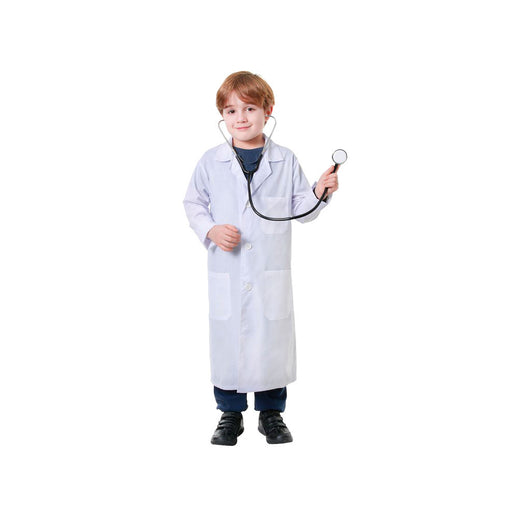 Kid wearing white lab coat or doctor coat costume