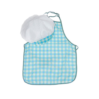 Kids chef hat and chef apron costume and activity set