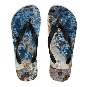 Cream Blue Rust Unisex Flip-Flops - Valentino Unlimited