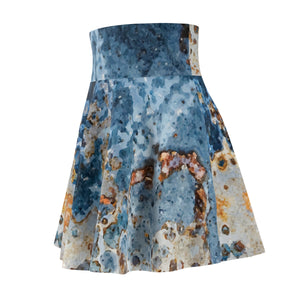 Cream Blue Rust Skater Skirt