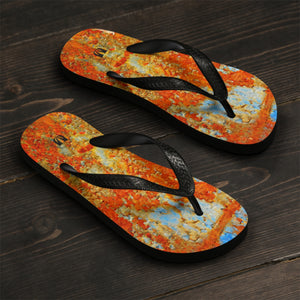 Light Blue Rust Unisex Flip-Flops - Valentino Unlimited