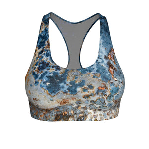 Cream Blue Rust Sports Bra