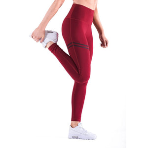 High-waisted Solid Colored Leggings with Stripe Accent - Valentino Unlimited