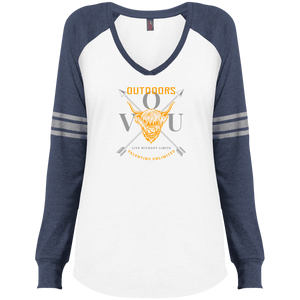 VUO Bull and Crossed Arrows Ladies' Game LS V-Neck T-Shirt - Valentino Unlimited