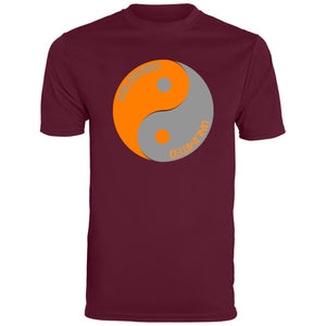 Orange and Grey valentino unlimited Yin Yang Men's Wicking T-Shirt - Valentino Unlimited