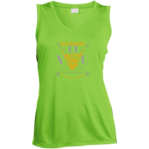 VUO Bull and Crossed Arrows Ladies' Sleeveless Moisture Absorbing V-Neck - Valentino Unlimited