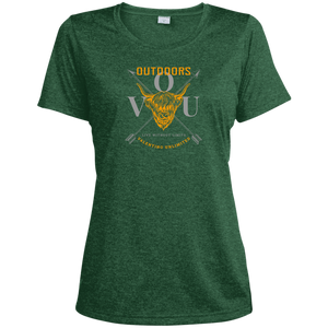 VUO Bull and Crossed Arrows Ladies' Heather Dri-Fit Moisture-Wicking T-Shirt - Valentino Unlimited