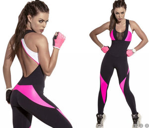 Hot pink and white on black sleeveless workout body suit