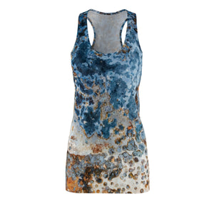 Cream Blue Rust Racerback Dress