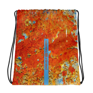 Light Blue Rust Drawstring bag