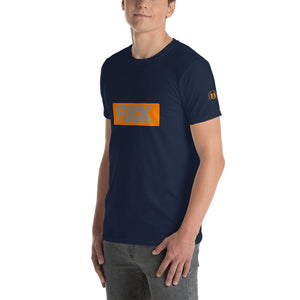 FUCK Grey on Orange Rectangle Short-Sleeve Unisex T-Shirt - Valentino Unlimited