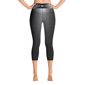 Black White Fade Black Dot Stripe Yoga Capri Leggings - Valentino Unlimited