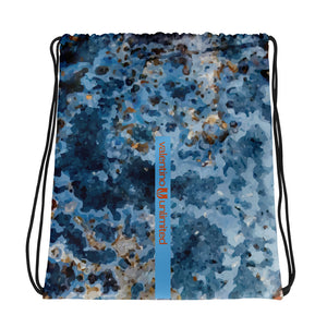 Cream Blue Rust Drawstring Bag