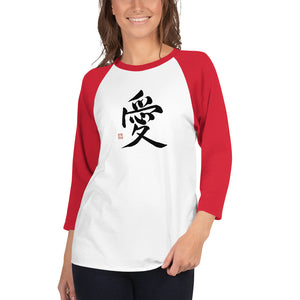 LOVE (Chinese Character) 3/4 sleeve raglan shirt - Valentino Unlimited