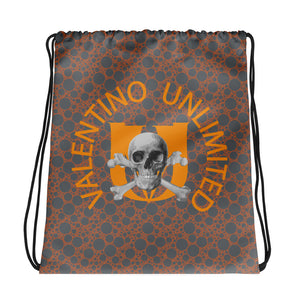 Skull and Crossbones and Orange VU on Grey and Orange Bubble Drawstring bag
