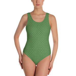 Green Bamboo Weave One-Piece Swimsuit - Valentino Unlimited