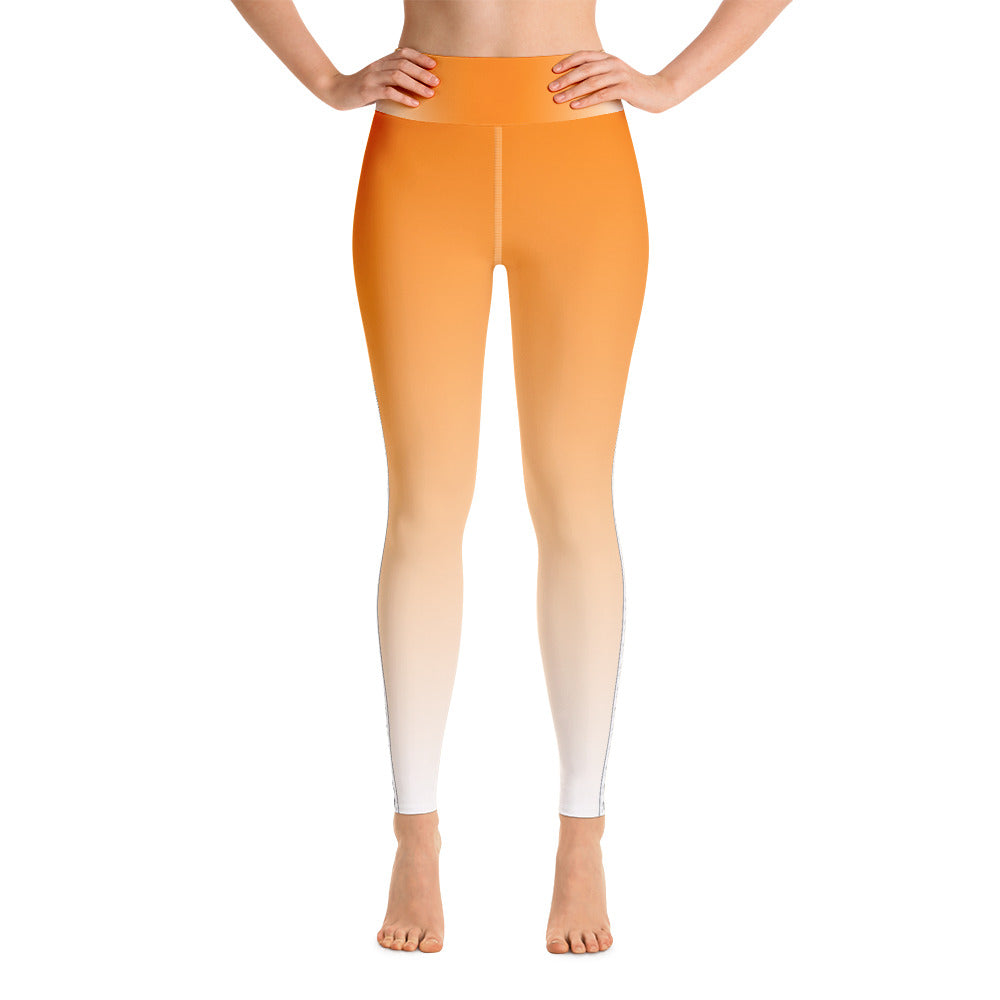 Creamsicle Fade with Skull and Crossbone Striped Yoga Leggings