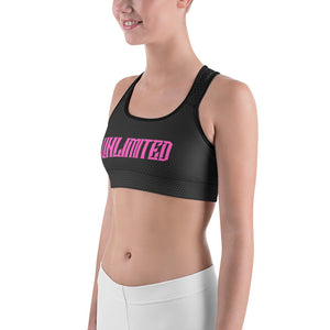 Reverse Fade Black Hex Sports Bra with UNLIMITED and VU Logo in Pink - Valentino Unlimited