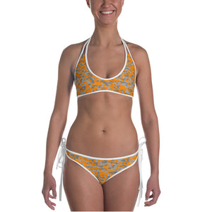 Orange and Grey Digital Hex Camo Bikini