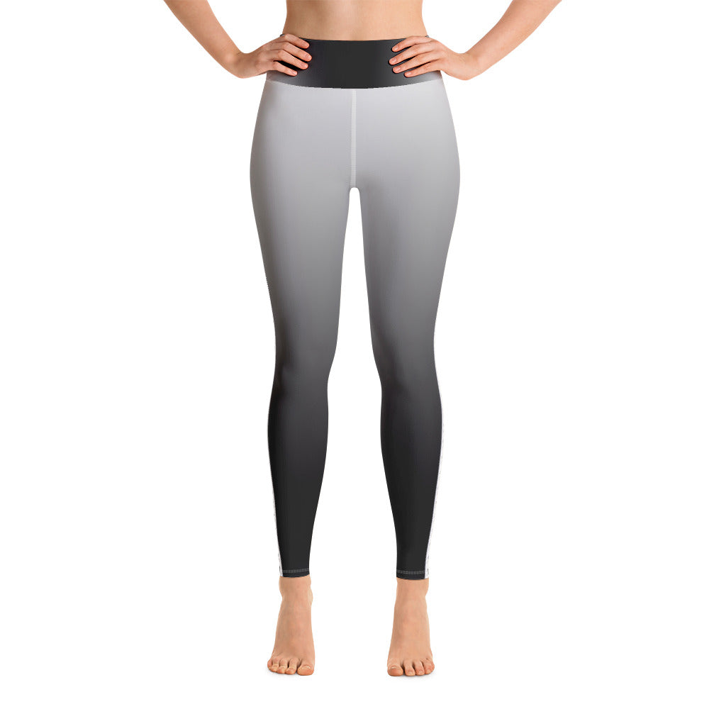 Black to White Fade with Skull and Crossbone Striped Yoga Leggings