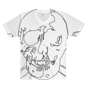 Wireframe Skull and Crossbones Men's V-Neck T-Shirt