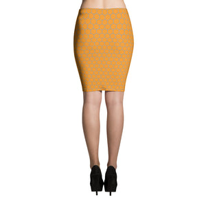 Orange and Grey Honeycomb Pencil Skirt