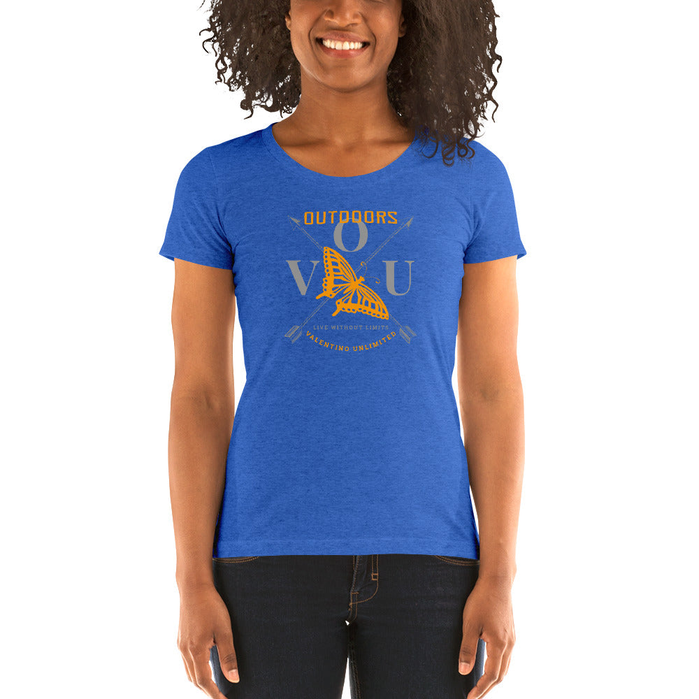 0631716627 VUO Butterfly Over Crossed Arrows SuperSoft Premium Tri-blend Ladies'  Fitted Short Sleeve T-shirt