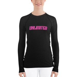 Reverse Fade Black Hex Rash Guard with UNLIMITED and the VU Logo in Pink - Valentino Unlimited