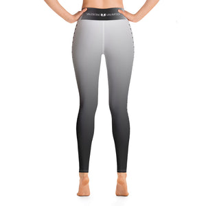Black to White Fade with Skull and Crossbone Columns Yoga Leggings - Valentino Unlimited