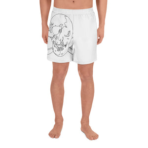 Black Wireframe Skulls on White Men's Athletic Long Shorts - Valentino Unlimited