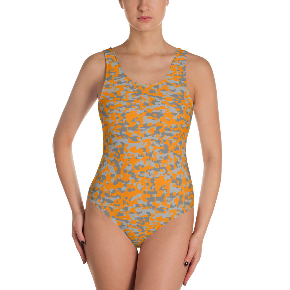 Orange and Grey Digital Hex Camo One-Piece Swimsuit - Valentino Unlimited