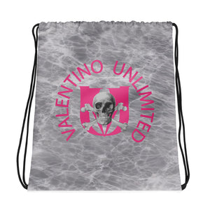 Skull and Crossbones and Pink VU on Grey Marble Drawstring bag