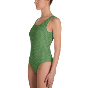 Green Bamboo Weave One-Piece Swimsuit