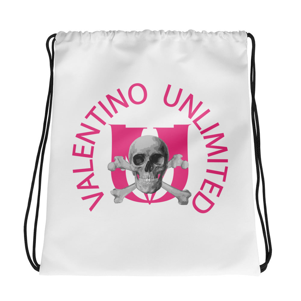 Skull and Crossbones and Pink VU on White Drawstring bag