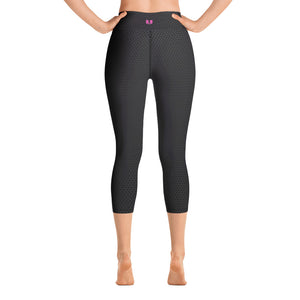 REVERSE FADE BLACK HEX Yoga Capri Leggings WITH UNLIMITED AND VU LOGO IN PINK - Valentino Unlimited