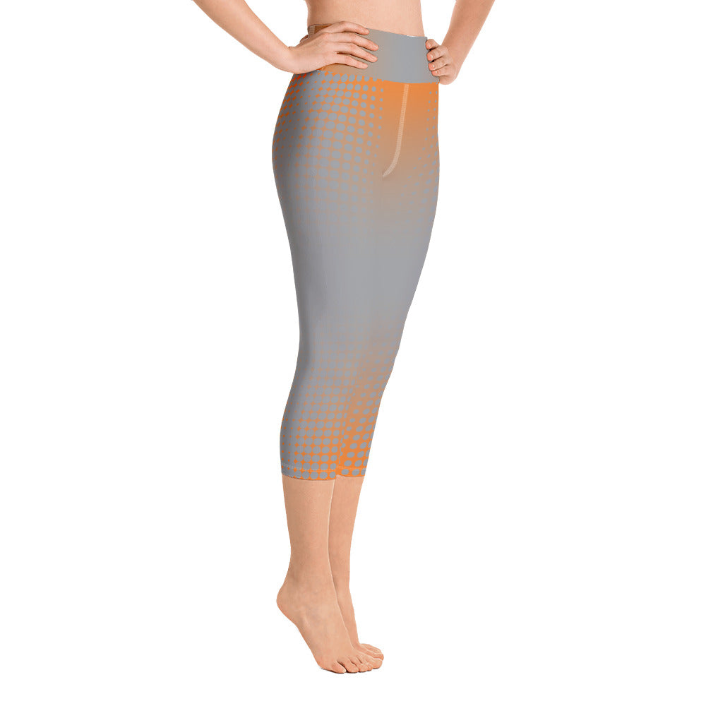 Orange Grey Dot Fade Yoga Capri Leggings - Valentino Unlimited