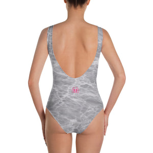 Grey Marble One-Piece Swimsuit