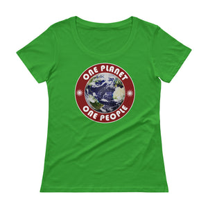 One Planet. One People. Ladies' Scoopneck T-Shirt - Valentino Unlimited