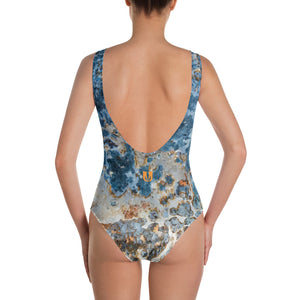 Cream Blue Rust One-Piece Swimsuit
