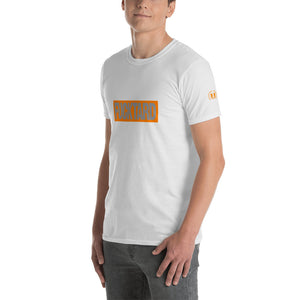 FUCKTARD Grey on Orange Rectangle  Short-Sleeve Unisex T-Shirt - Valentino Unlimited