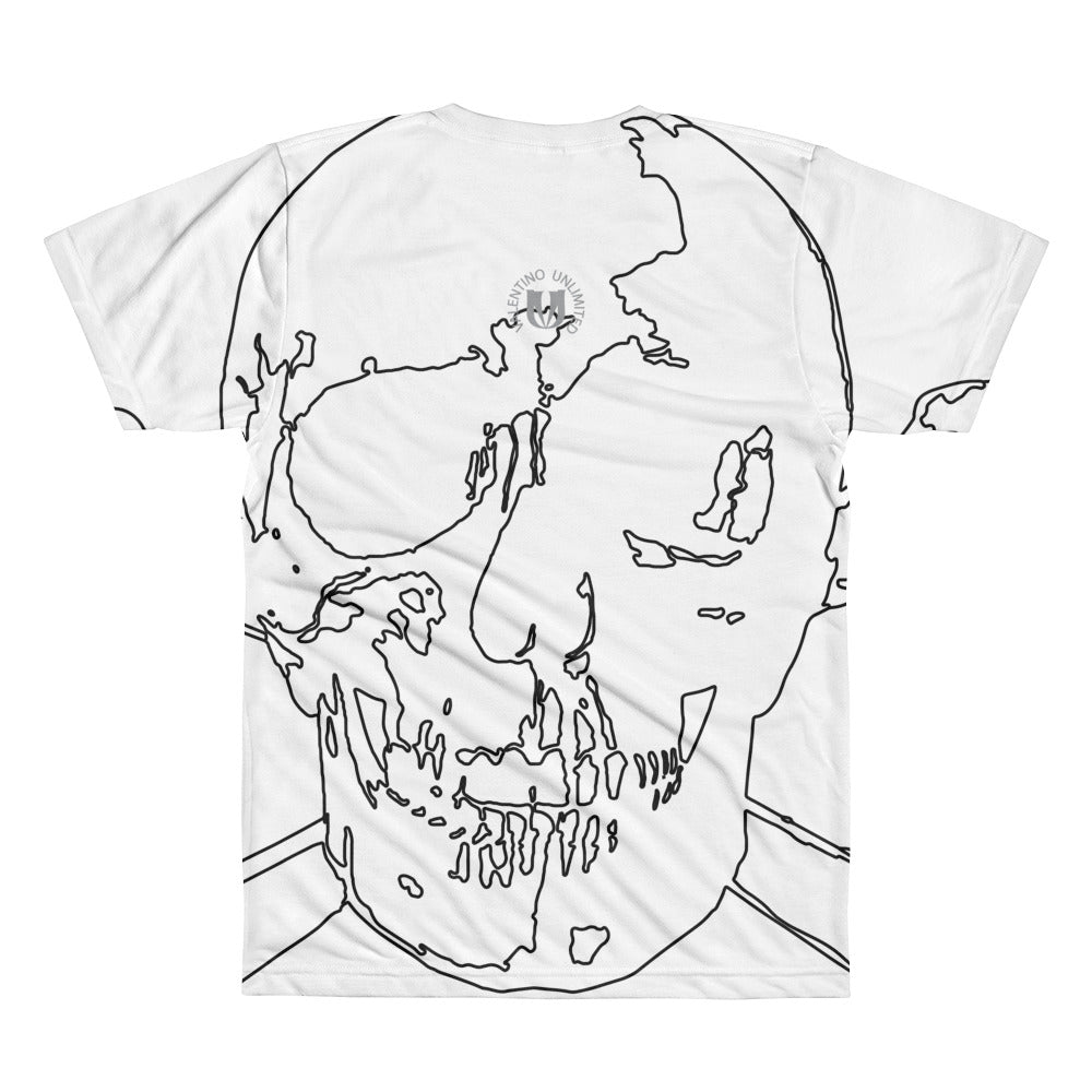 Wireframe Skull and Crossbones All-Over Printed T-Shirt