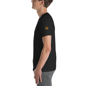 FUCKALICIOUS Grey on Orange Rectangle Short-Sleeve Unisex T-Shirt - Valentino Unlimited